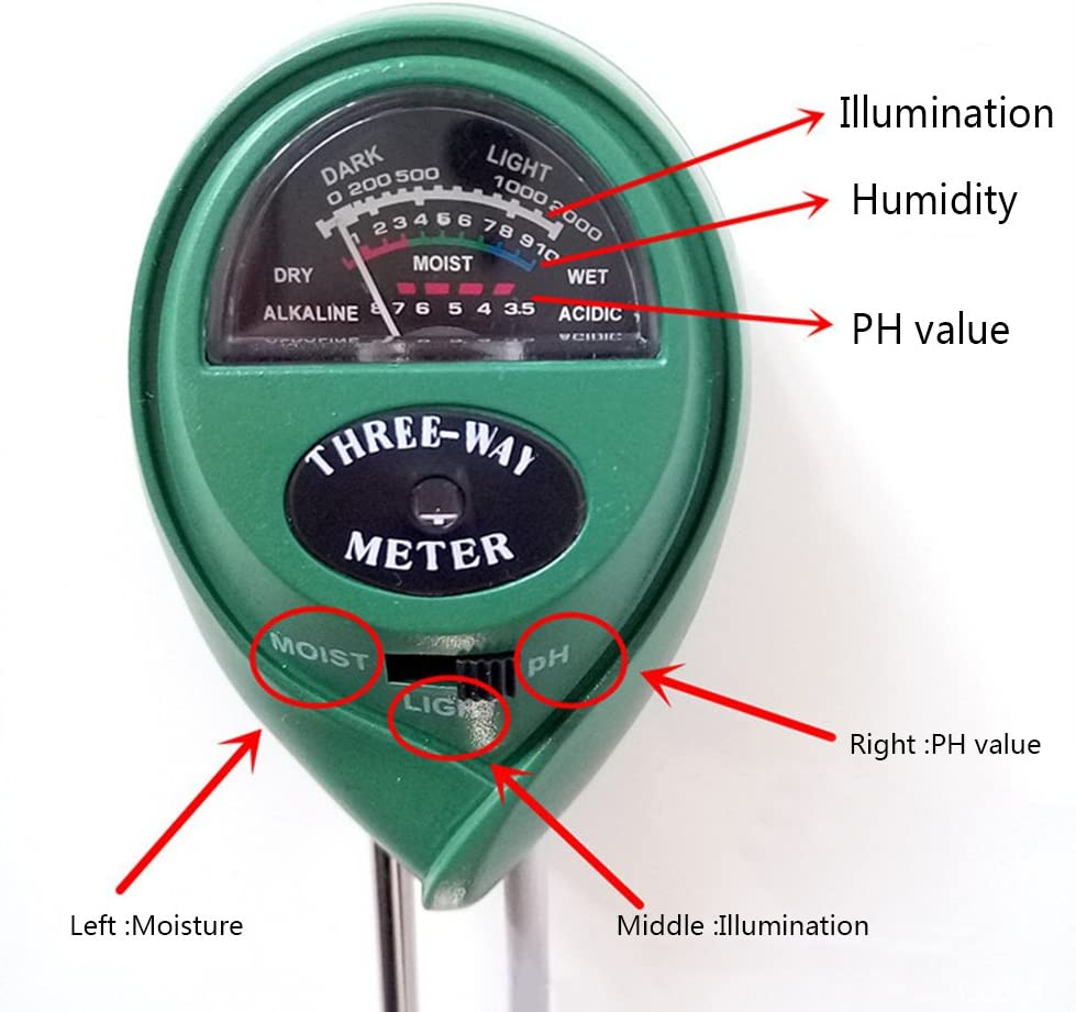 ATopoler 3-In-1 Soil PH Tester,Soil Tester Moisture Meter,Light,PH and Moisture Acidity Test For Gardening Agriculture Indoor Outdoor