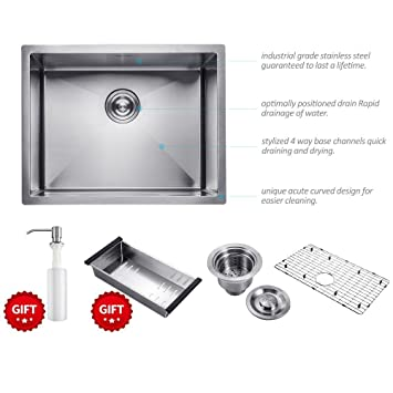 23 inch commercial undermount single bowl stainless steel kitchen sink outer lip thickness 11 gauge basin 23 inch commercial undermount single bowl stainless steel kitchen      rh   amazon com
