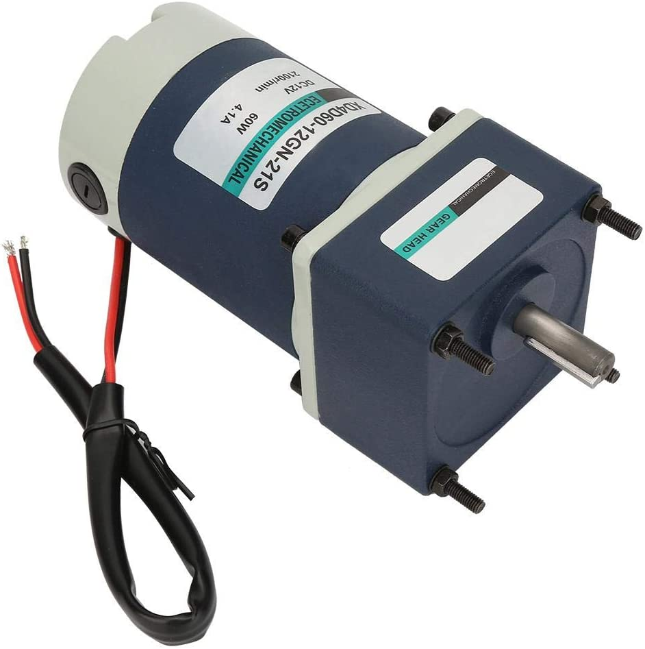 Fafeicy 12V 60W High Torsion Adjustable Speed Metal Gear Permanent Magnet DC Geared Motor Reduction Ratio 3 700RPM