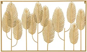 FEENGG Metal Wall Decor, Metal Leaf Wall Art, Interior and Outdoor Decorative, Wrought Iron Wall Decor, Living Room Home Decoration, for Study/Living Room/Bedroom,10060cm