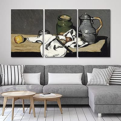 3 Panel World Famous Painting Reproduction Still Life with Kettle by Paul Cezanne x 3 Panels