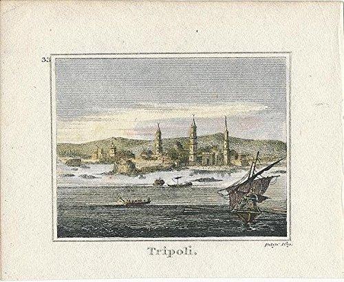 1820 Original Antique - Tripoli Lebanon 1820 original antique hand color miniature city view