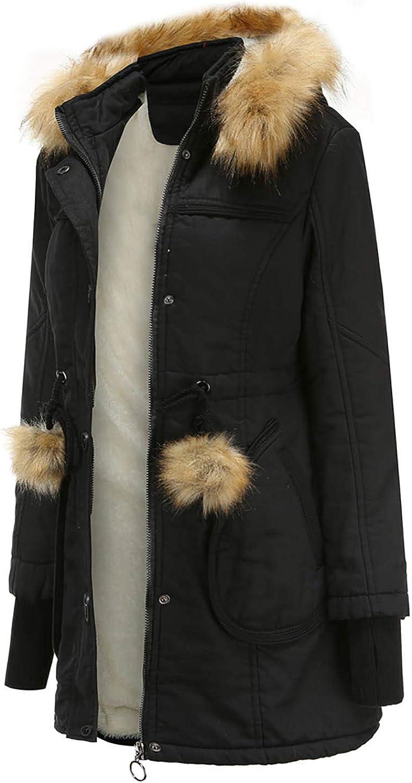 AOGOTO Women's Winter Plus Fleece Cotton Coat with Hat Fashion Casual Warm Long Jacket D-black