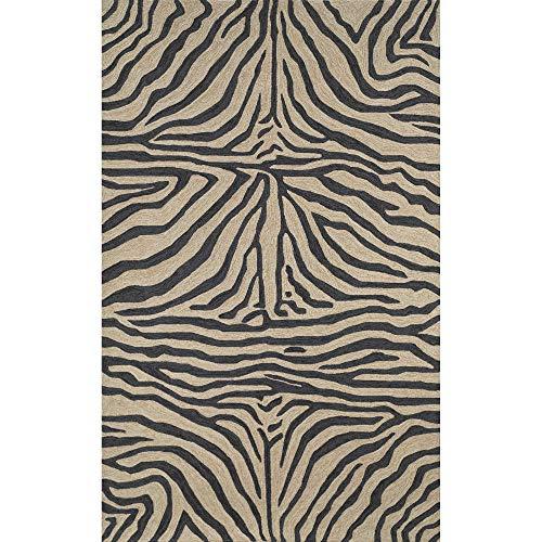 - Liora Manne Ravella Zebra Rug, Indoor/Outdoor, 5-Feet by 7-Feet 6-Inch, Black