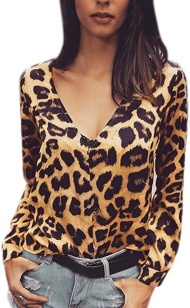 Rawdah_Camisetas Mujer Manga Larga Originales Fiesta Blusas Elegantes Mujeres De Manga Larga De Leopardo De Impresión Casual Tops Blusa Suelta Camisa: Amazon.es: Ropa y accesorios