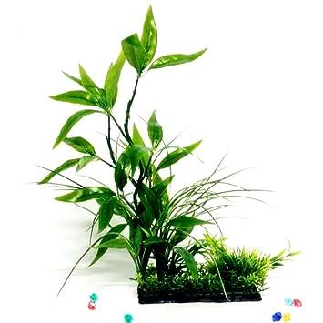 Amesii Fake Acuario Planta Agua Árbol Césped Adorno Pecera Tanque Plástico Decor Verde - Verde: Amazon.es: Hogar