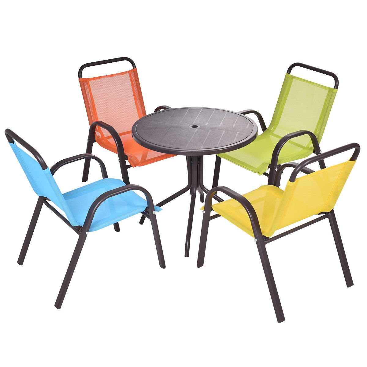 Costzon Kids Table Set, 5 Pieces Patio Activity Table and Chairs Set