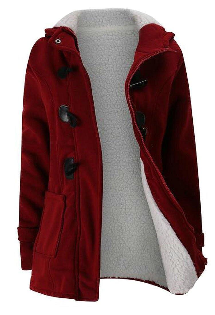 ARRIVE GUIDE Womens Hoodie Classic Wool-Blend Fleece Warm Jacket Outwear Coat