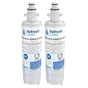 Refresh Replacement Refrigerator Water Filter Compatible with Kenmore 46-9690, ADQ36006102 and LG LT700P, ADQ36006101 (2 Pack)