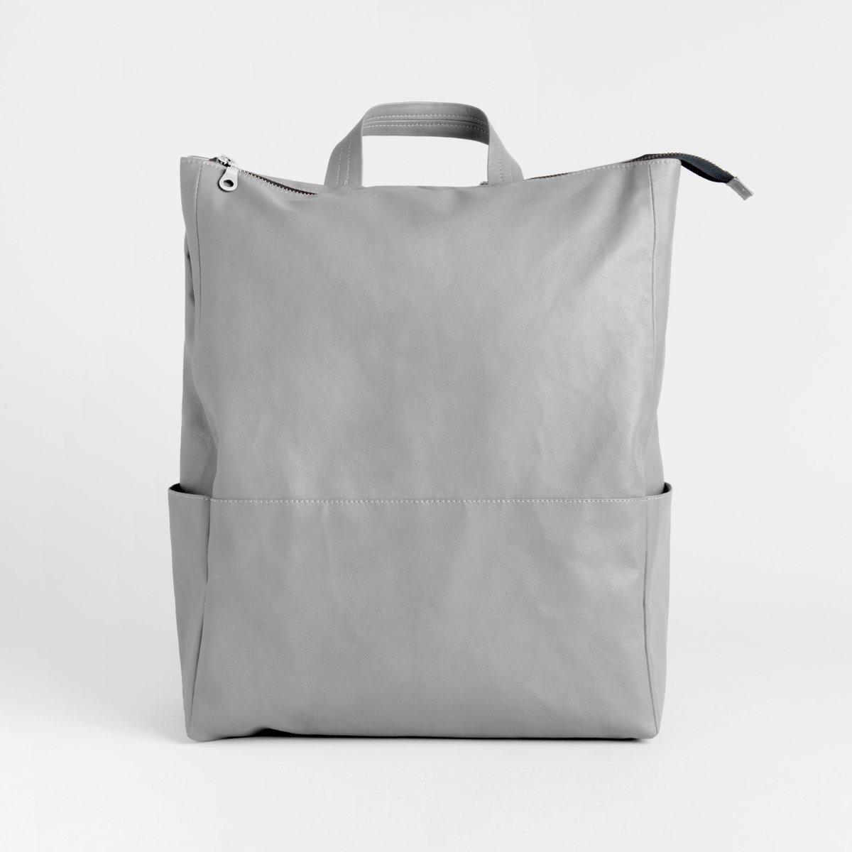 Grey Backpack, PU Faux Leather Travel Rucksack, City Backpack, Vegan Backpack, Unisex Backpack