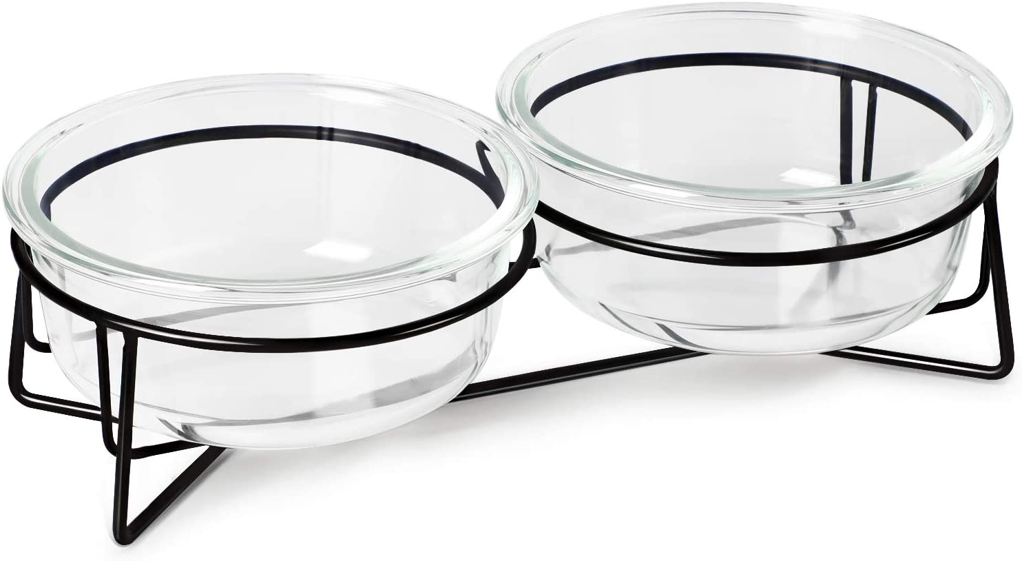 MUZITY Glass Raised Cat Bowls, Pet Food and Water Dishes with Metal Stand,20 Ounces (Transparent)
