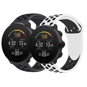 Ceston Deporte Silicona Clásico Correas para Smartwatch Polar Vantage M (Todo Negro & Blanco Negro)