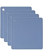 Silicone Trivet Mats, Silicone Pot Holders for Hot Pots and Pans. Heat Resistant Counter Mats for Tables, Countertops, Spoon Rest and Large Coasters