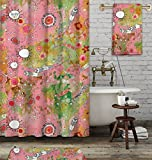 3 piece artist bathroom set. Funky, colorful, boho chic, accessories Include shower curtain, towel, and bath mat. Feathers, suns, flowers mixed media painting by C.Cambrea.