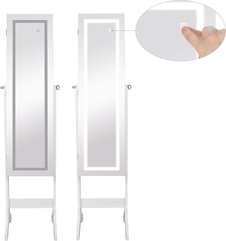 Ezigoo Specchio portagioie da Parete a Specchio con luci a LED Touchscreen Armadietto portagioie Senza Cornice