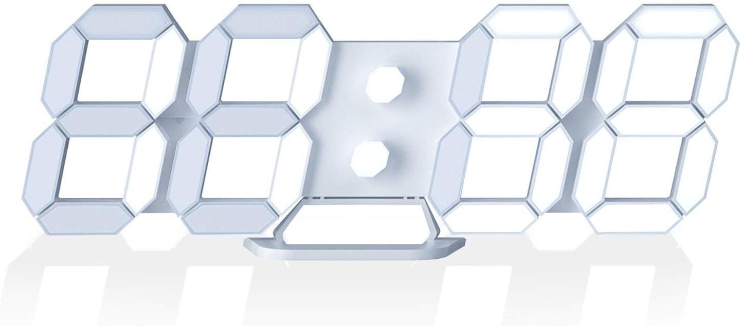 "LED Digital Desk Clock, Table Wall Clocks 9.7"" Brightness Adjustable Desktop Alarm Clock for Office Home Living Room"