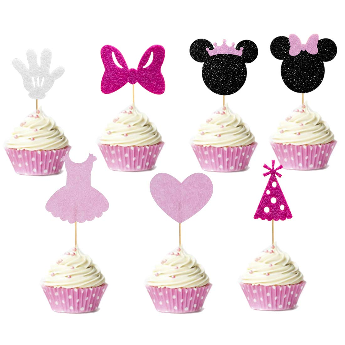 Set of 35 Minnie Inspried Cupcake Toppers Pink Glitter Minnie Girls Cake Food Decorations Minnie Themed Birthday Baby Shower Party Supplies Baby Kids