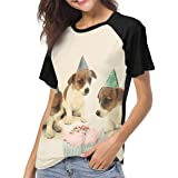 Vintage Puppy Birthday Cake Dogs Womens 3D Printed Baseball T Shirts Short Sleeve Graphic Tee