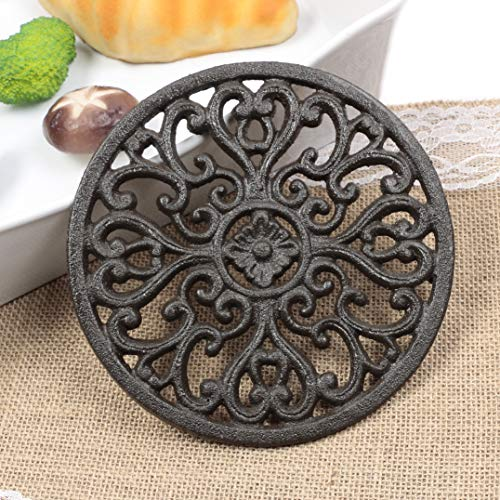 Famibay Round Cast Iron Trivet Iron Heat-insulation Trivet Non-slip Potholders with Rubber Pegs Vintage Pattern for Kitchen Dining Table Decor Round Dia. ()