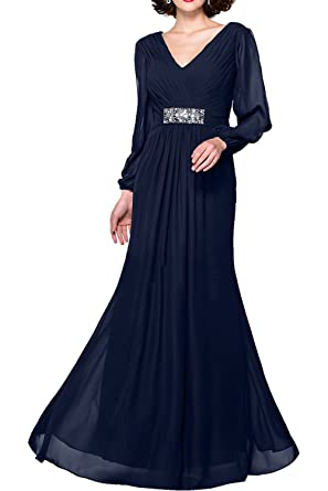 Gorgeous Bride Modisch Lang Ärmel V-Ausschnitte Chiffon Brautmutterkleider 2017  Damen Abendkleider Lang Cocktailkleider Ballkleider