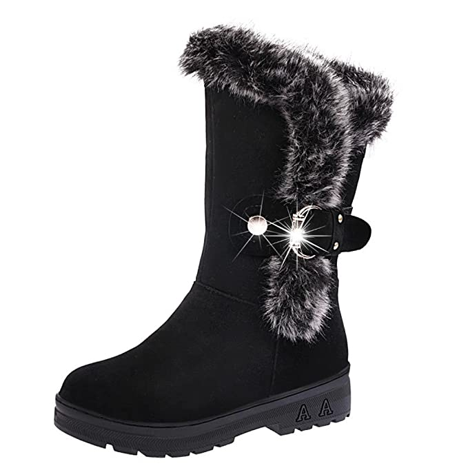 Womens Warm Faux Fur Lined Snow Boots Buckle Slip-On Soft Plush Shoes Flat Chuncky