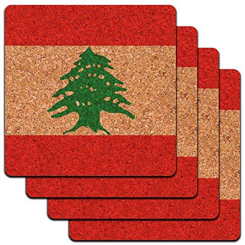 Lebanon National Country Flag Low Profile Cork Coaster Set
