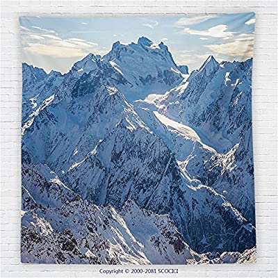 59 x 59 Inches Lake House Decor Fleece Throw Blanket Snowy Mountain Scene under Sky Winter Wilderness Untrodden Nature Print Blanket White Blue