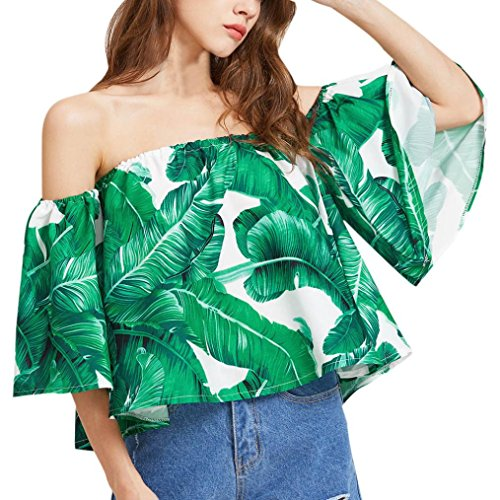 ZTY66 Women Off Shoulder Sexy Flare Sleeve Tops T-Shirt, Banana Leaf Printed (S, (Leaf Green Cotton Spandex)