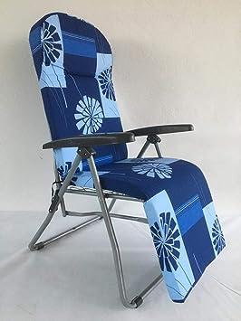 TECNOWEB Matelas Rechange pour Chaise Longue avec appuie-tête Anatomique  pour Relax Automatique H.5 cm Fantaisie Bleu