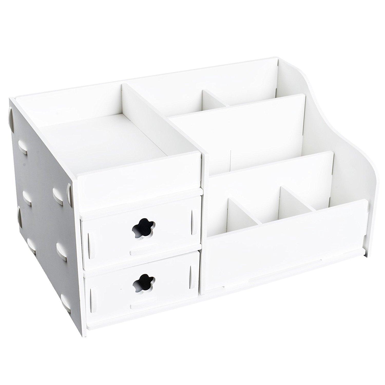 TopHomer White Wooden Desk Makeup Organizer Cosmetics Holder Perfume Jewelry Case Storage Drawers Unit Desk Tidy Stationary Organizer