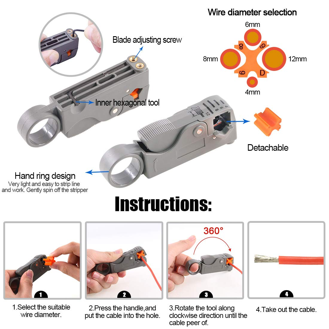 Glarks Coaxial Cable Tool Set, Coax RF Connector Crimping Tool + Coaxial Cable Stripper + BNC/UHF Crimp Male Connectors + Wire Cutter + Screw Driver for RG58, RG59, RG62, RG174 by Glarks (Image #5)