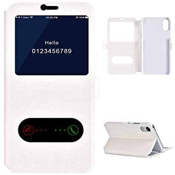 pretty nice fed03 a96eb Amazon.com: iPhone XR Leather Flip Case, iPhone XR Cover Window View ...