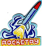 """ROCKETRY"" w/ROCKET- Iron On Embroidered Applique /Aircraft, Outer Space,Science"