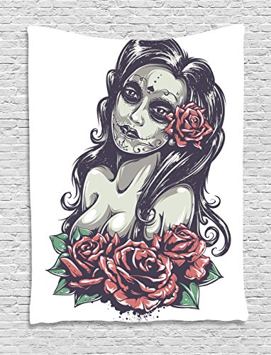 Bedroom Mexican Furniture (Ambesonne Girly Decor Collection, Dead Sexy Girl with Roses Mexican Sugar Skull Makeup Aztec Culture Goddess Zombie Concept, Bedroom Living Room Dorm Wall Hanging Tapestry, 60 X 80 Inches, Black Pink)