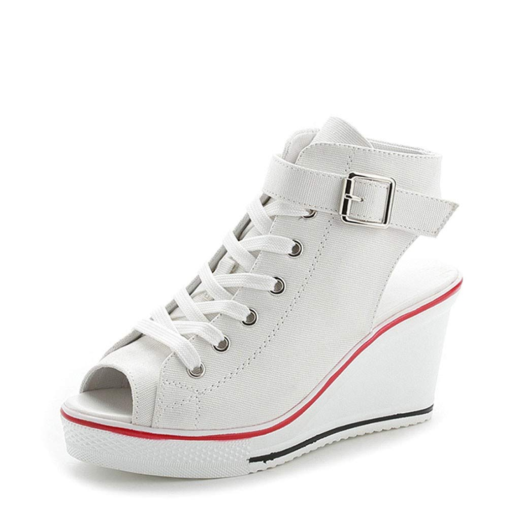 Womens Wedge Platform Sneakers Ankle Booties Women Buckle Strap Canvas Espadrilles Hollow Out Walking Shoes (US:8, White)