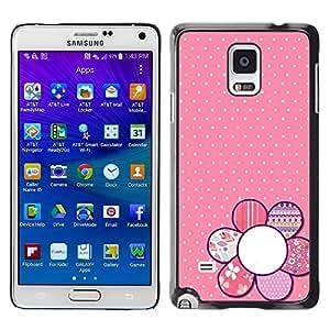 Be Good Phone Accessory // Dura Cáscara cubierta Protectora Caso Carcasa Funda de Protección para Samsung Galaxy Note 4 SM-N910 // pink floral pattern polka dot petal white