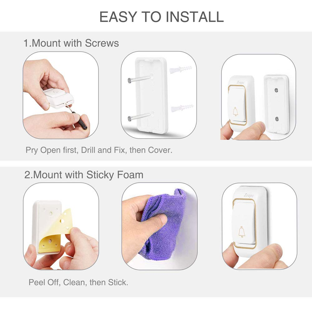 58 Chimes Wireless Doorbell 2 Plug-in Receivers and 1 Transmitter Easy to Install Penetrate 5 walls 1300ft Range LED Indicator Waterproof Battery installed 4 Level Volume