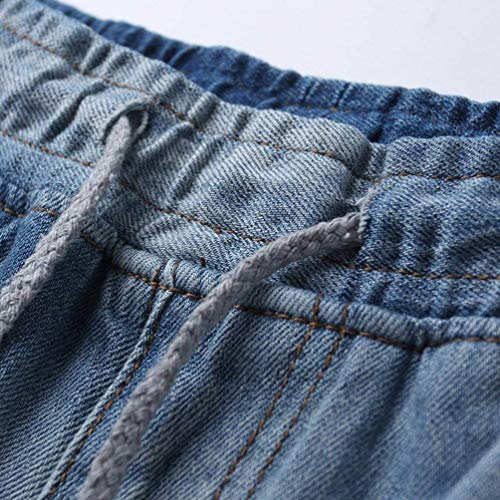 Blau Elastici Pantaloni Larghi Jeans Con Harem Uomo Vita Ragazzo Coulisse Conici Da Fit In 0wORB0