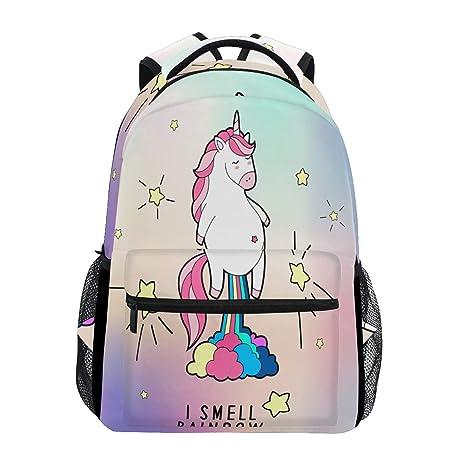 Mochila para ordenador portátil con diseño de unicornio rosa, resistente al agua y al arco