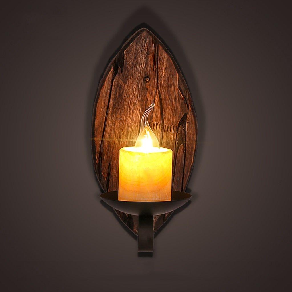 Wandmontiert Retro Feste hölzerne Wand-Lampe Kreative Marmor Kaffee-Gaststätte-dekorative Leuchte-Kerzenhalter-Wand-Lichter (Farbe   A)
