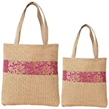 ShalinIndia - Set Of 2 Multipurpose Shopping Bags, Jute Shimmer,Natural Fiber-Eco Frienly,Non Woven Lining
