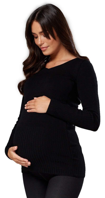 Happy Mama. Womens Maternity Nursing Hooded Sweater Long Sleeves. 452p (Black, US 8/10, L/XL)