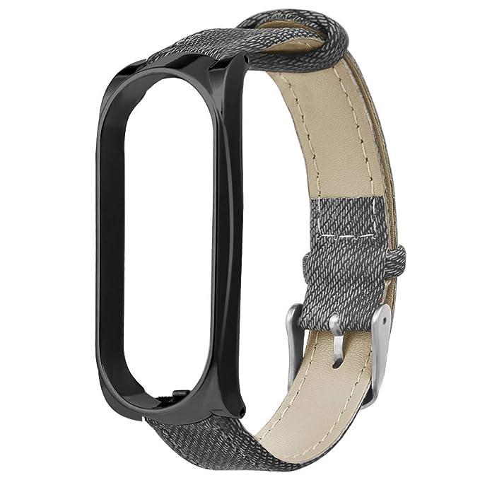para Xiaomi Mi Band 3 Caja de Metal Pulsera de Mezclilla Correa de Reloj Correa de Reloj Cómoda Denim Tela Adjustable Reemplazo Pulsera Correa para Xiaomi ...