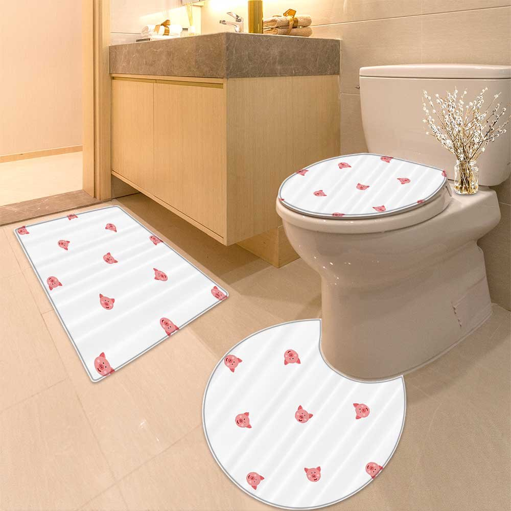 3 Piece Anti-slip mat setPig Collection Smiley Square Faced Little Pigs Eyes Noses Crowd Herd of Animals Patte Non Slip Bathroom Rugs