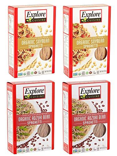 Explore Asian Organic Bean Pasta 8 Ounce Box (Soybean and Adzuki Variety Pack, 4 Boxes)