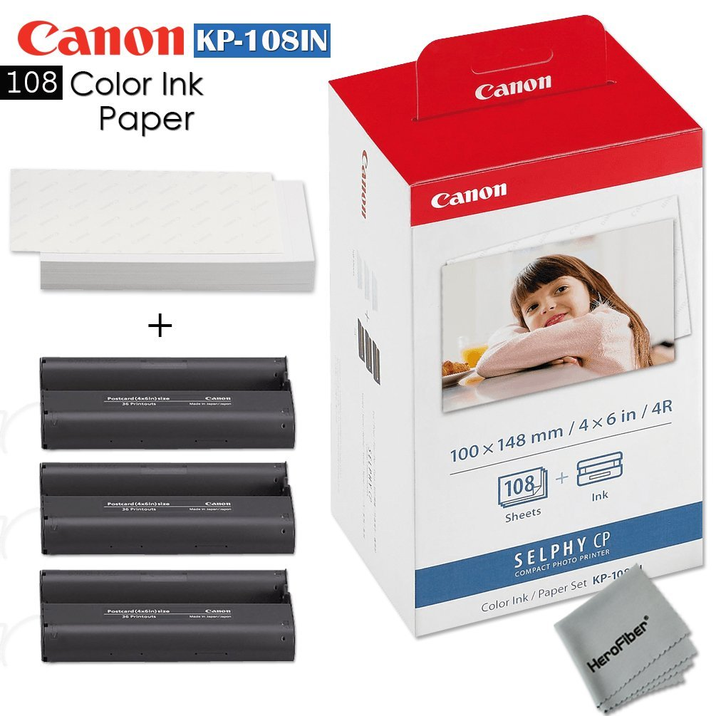 Canon KP-108IN / KP108 Color Ink Paper includes 108 Ink Paper sheets + Ink toners for Canon Selphy CP1300, Selphy CP1200, Selphy CP910, Selphy CP900, cp770 and cp760 + HeroFiber Gentle Cleaning Cloth