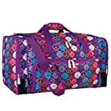 Wildkin Weekender Duffel Bag, Features Removable Shoulder Strap and Moisture-Resistant Lining, Carry-On Size, Perfect for Sleepovers, Sports Practice, and Travel – Peace Signs