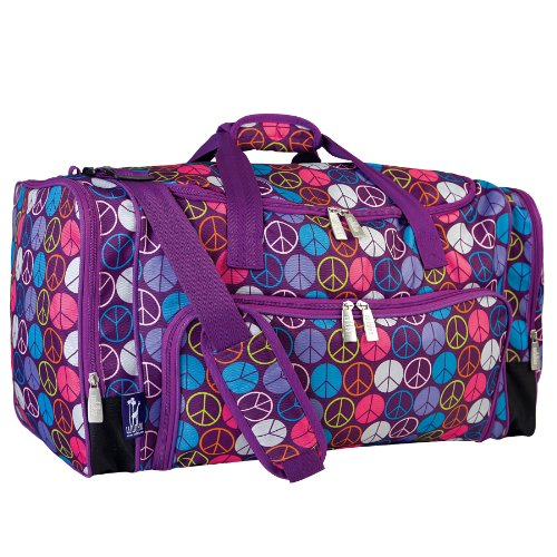Wildkin Weekender Duffle Bag, Features Removable Shoulder Strap and Moisture-Resistant Lining, Carry-On Size, Perfect for Sleepovers, Sports Practice, and Travel - Peace Signs