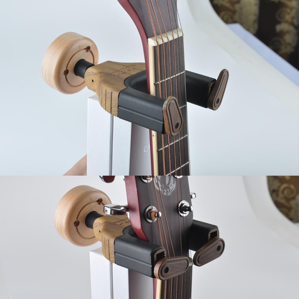 Soporte de guitarra de montaje en la pared, con diseño de bloqueo automático, para guitarra, bajo, ukelele y varios instrumentos musicales de estudio ...
