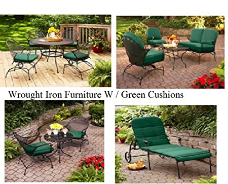 deck wrought iron table. Amazon.com : Outdoor Wrought Iron Bistro Set W / Free Green Cushions  And Patio Furniture Sets Garden \u0026 Deck Wrought Iron Table O
